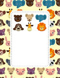 Cartoon animal face card. Drawing Royalty Free Stock Photography