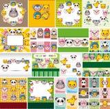Cartoon animal face card Stock Photography