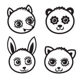 Cartoon animal face element, vector black icon set. Royalty Free Stock Photo
