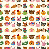 Cartoon Animal Face Pattern Seamless Stock Images
