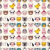 Cartoon Animal Face Seamless Pattern Stock Photography