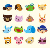 Cartoon animal face set Stock Image