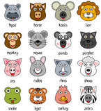 Cartoon Animal Faces Set [2]. Collection of 16 funny cartoon animal faces, isolated on white background. Please check file ID 24393552 for the first part. Eps Stock Images