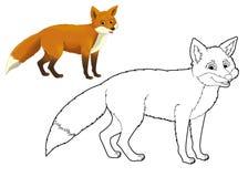 Cartoon animal - fox - coloring page Stock Photography