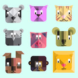 Cartoon animal geometrical icons Royalty Free Stock Photo