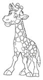 Cartoon animal - giraffe - caricature - coloring page Royalty Free Stock Photos