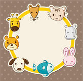 Cartoon animal head card Stock Images