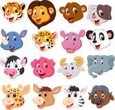 Cartoon Animal Head Collection Set Stock Photography
