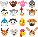 Cartoon animal head collection set Stock Photo