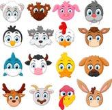 Cartoon animal head collection set Stock Photo