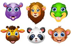 Cartoon animal head collection set Royalty Free Stock Photography