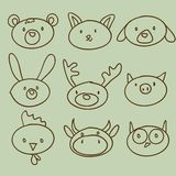 Cartoon animal head doodle. Illustration Stock Images