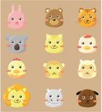 Cartoon animal head icon Royalty Free Stock Photos