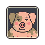 Cartoon animal head icon. Pig face avatar for profile of social networks. Hand drawn design Stock Photography