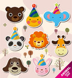 Cartoon animal head icons Royalty Free Stock Images