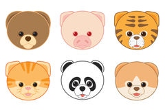 Cartoon Animal Head Icons Collection Royalty Free Stock Image