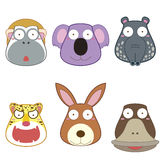 Cartoon animal head set Royalty Free Stock Image