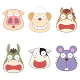 Cartoon animal head set Stock Image