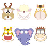 Cartoon animal head set Stock Photos