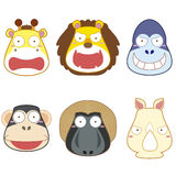 Cartoon animal head set Royalty Free Stock Photos