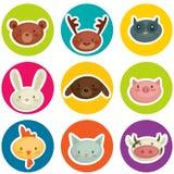Cartoon animal head stickers. Vector illustration Royalty Free Stock Photos