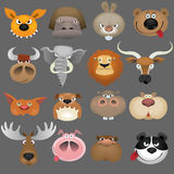 Cartoon animal heads icon set Stock Photography