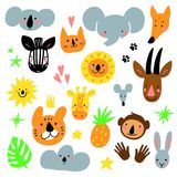 Cartoon animal heads set. Modern concept of flat design for kids cards, banners and invitations. Hand drawn vector. Cartoon animal heads set. Modern concept of Stock Images