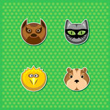 Cartoon animal heads vector set Royalty Free Stock Images