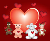 Cartoon animal and hearts Royalty Free Stock Images