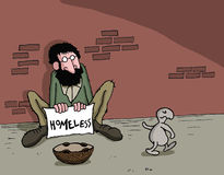 Cartoon about animal and homeless man Stock Image
