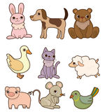 Cartoon animal icon set. Drawing Royalty Free Stock Image
