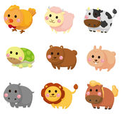 Cartoon animal icon set. Drawing royalty free illustration
