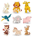 Cartoon animal icon set. Drawing stock illustration