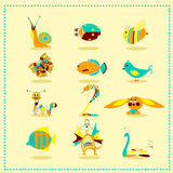 Cartoon animal icons Stock Photos
