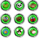 Cartoon animal icons. Illustration, nine buttons with cartoon animal icons Royalty Free Stock Photography