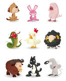 Cartoon animal icons set Royalty Free Stock Image