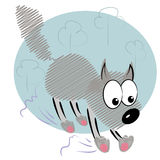 Cartoon animal kid in hurry.cute wolf  card Stock Photography