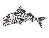 Fish bones cartoon character. Cartoon animal mascot character for sport logo Royalty Free Stock Image