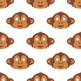 Cartoon animal monkey party masks vector holiday illustration party fun seamless pattern background. Royalty Free Stock Photography