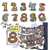 Cartoon Animal number Eight. Cartoon Animal Numbers. With number Eight as a sloths Royalty Free Stock Photography