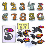 Cartoon Animal number Five. Cartoon Animal Numbers. With number Five as Toucans Stock Photo
