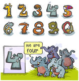 Cartoon Animal number Four. Cartoon Animal Numbers.  With number Four as Elephants Stock Photography