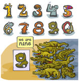 Cartoon Animal number Nine. Cartoon Animal Numbers.  With number Nine as Crocodiles Royalty Free Stock Photography