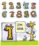 Cartoon Animal number One. Cartoon Animal Numbers. with number One as Giraffe Stock Photos