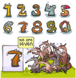 Cartoon Animal number Seven. Cartoon Animal Numbers. With number Seven as Ant-eaters Royalty Free Stock Photo