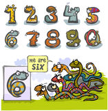 Cartoon Animal Number Six. Stock Photography
