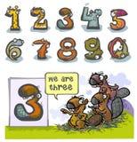 Cartoon Animal number Three. Cartoon Animal Numbers. With number Three as Beavers Stock Photos