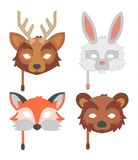 Cartoon animal party mask vector. Royalty Free Stock Image