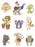 Cartoon animal play music icon Royalty Free Stock Photography