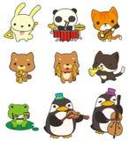 Cartoon Animal Play Music Icon Stock Photography